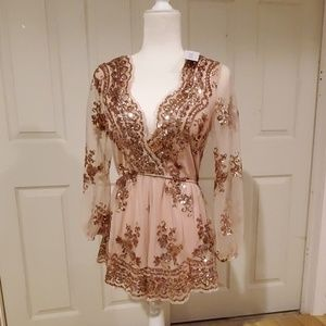 Showpo what comes around playsuit in rose gold